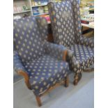 Two early/mid 20th century upholstered armchairs Location: SL