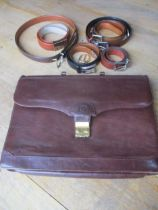 Six gents leather belts, various sizes to include Ted Lapidus, Cole Hann, Trafalgar, one possibly