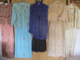 A quantity of 1970's - 1990's ladies beaded and bejewelled two-piece evening gowns with jackets to