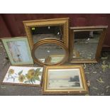 A mixed lot of pictures and mirrors to include a late 19th/early 20th century oil painting depicting