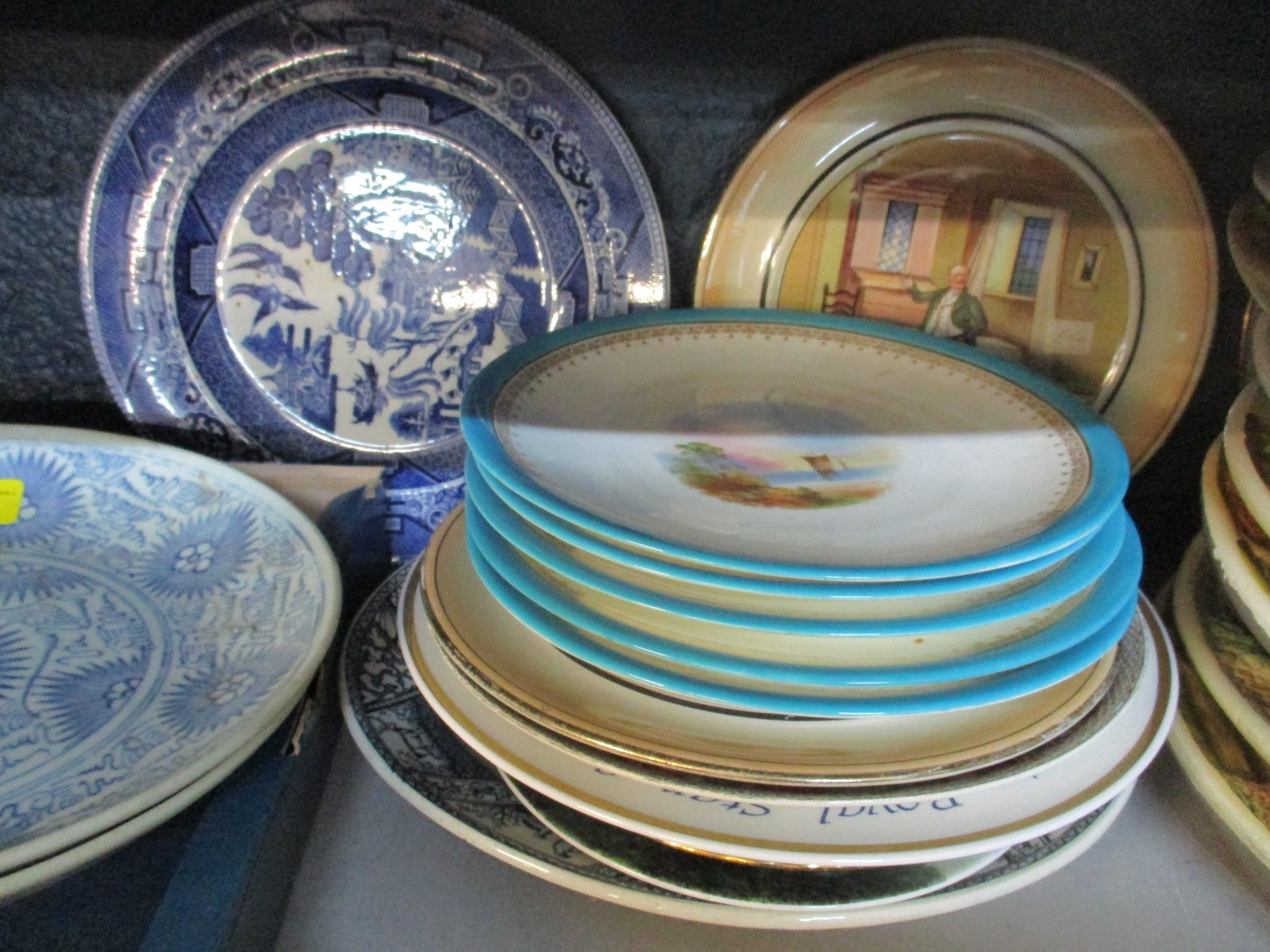 Two provincial Chinese blue and white plates, along with a selection of other Victorian and later - Image 4 of 4