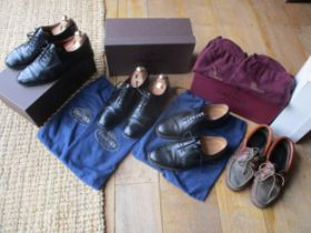 Four pairs of gents leather shoes to include two pairs of Church's black hi-shine lace up shoes,