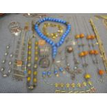 Middle Eastern and mixed vintage jewellery to include white metal, hard-stone and amber coloured