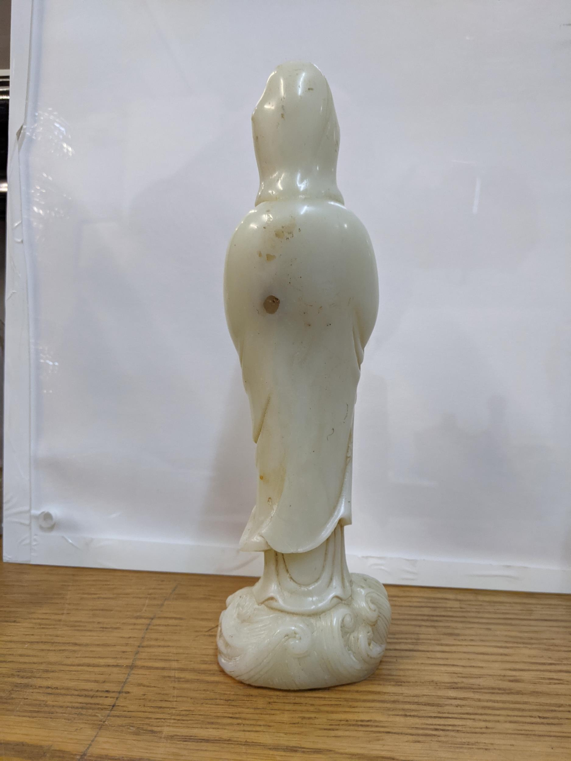 A Chinese off white jade coloured statue of a woman on a wave design base 24cm high - Image 2 of 3