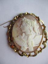 A gold coloured framed cameo