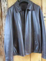 A gents Brooks Brothers black lambskin leather jacket, size Medium