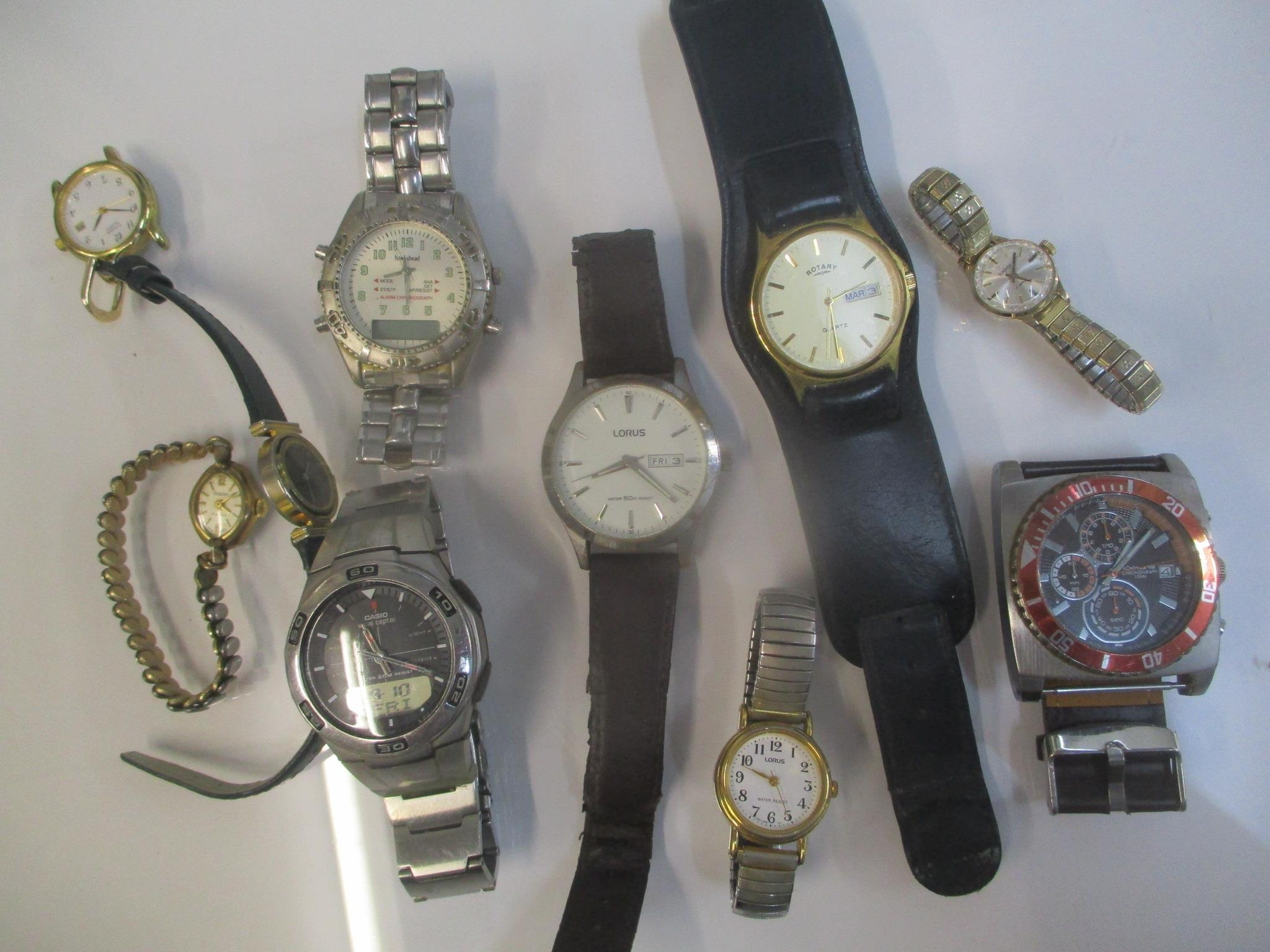 Gents wristwatches to include Kahuna, Lotus, Casio, Rotary and others
