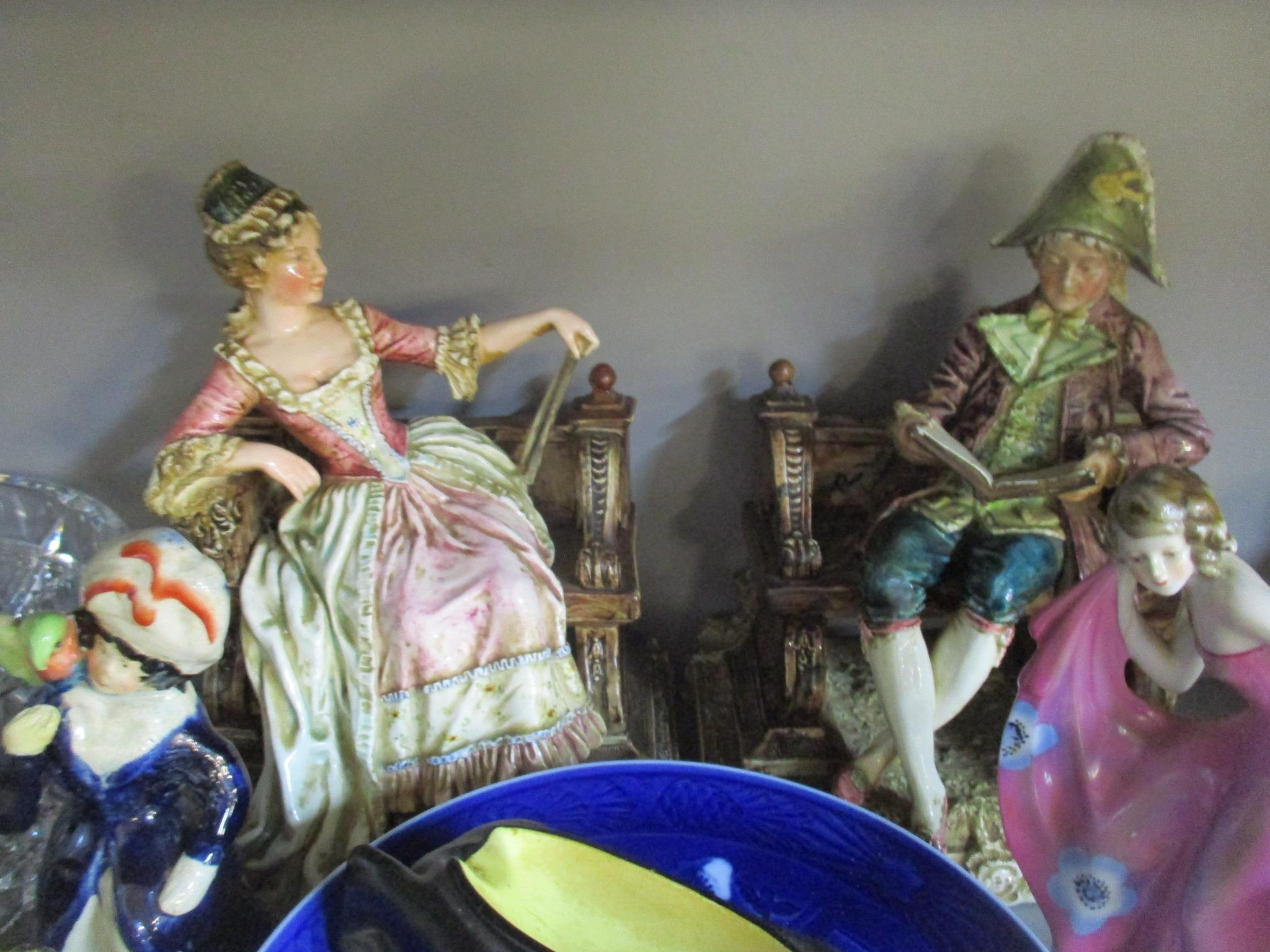 A mixed lot of Victorian and later ceramics and glassware to include a pair of Royal Dux figurines - Image 3 of 6
