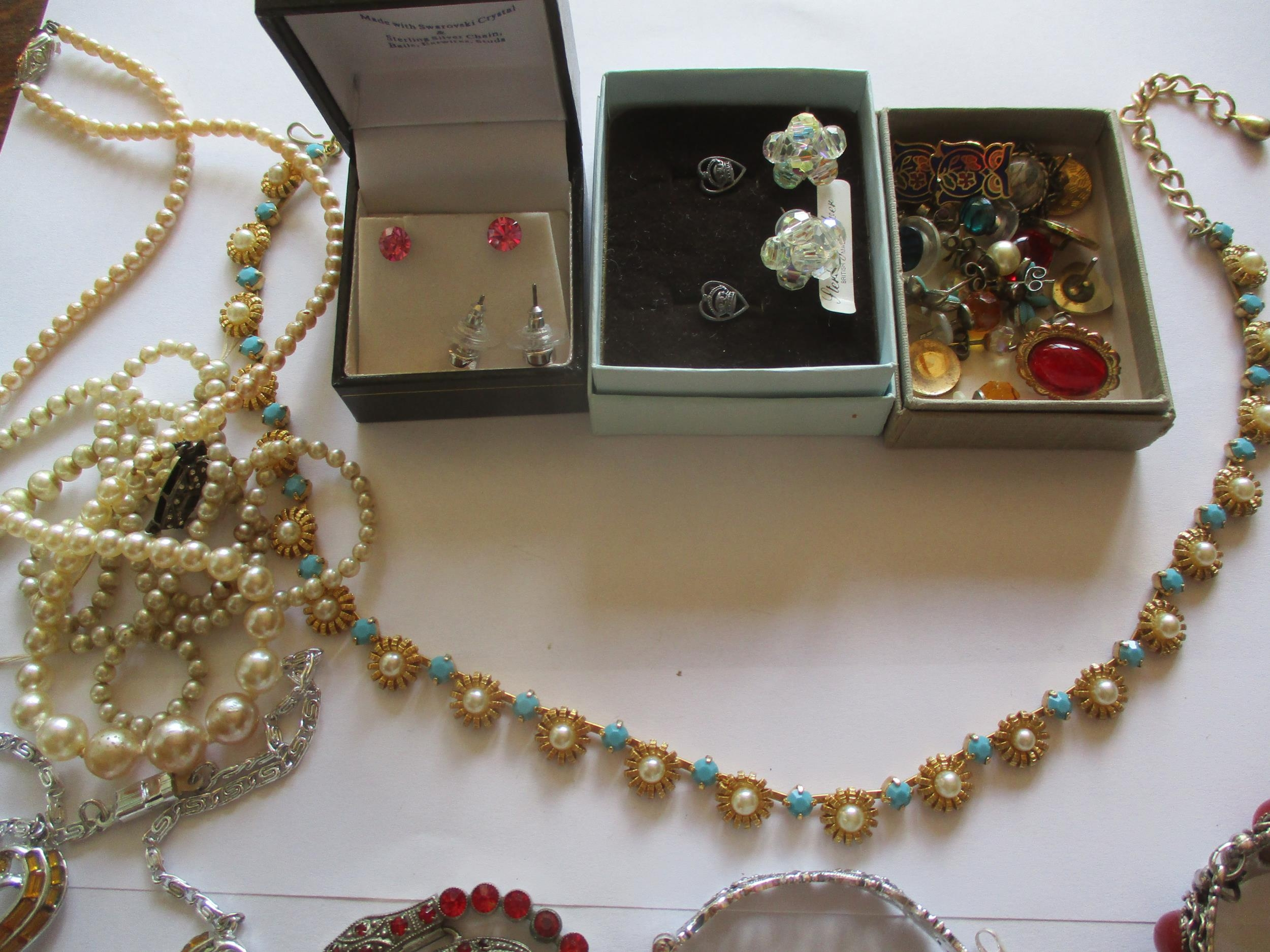 Mixed costume jewellery, mainly pendants on chains to include silver examples and a sterling - Image 4 of 8