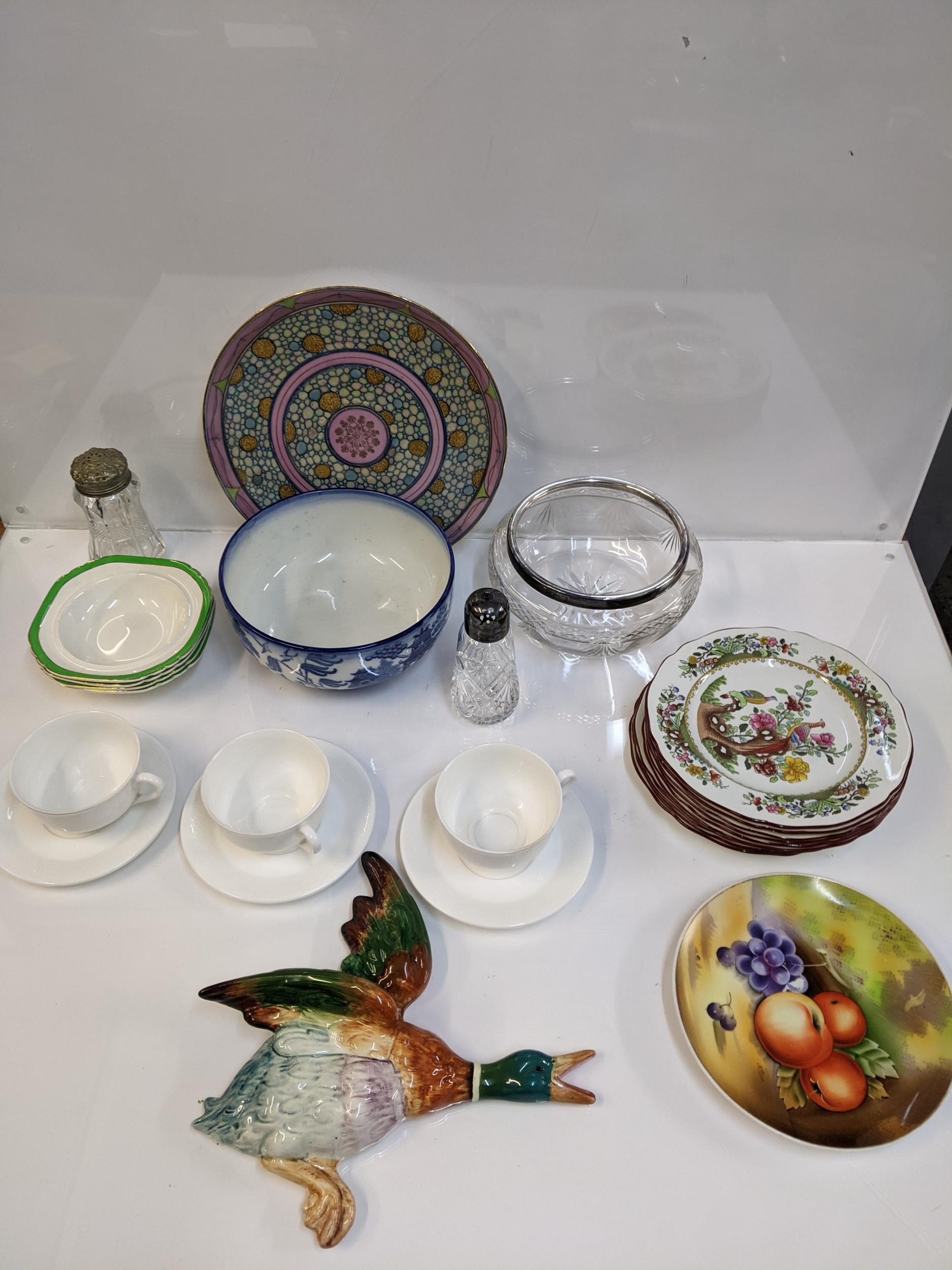Ceramics and glassware to include a large Beswick wall mounted flying duck 596/0, Spode plates,