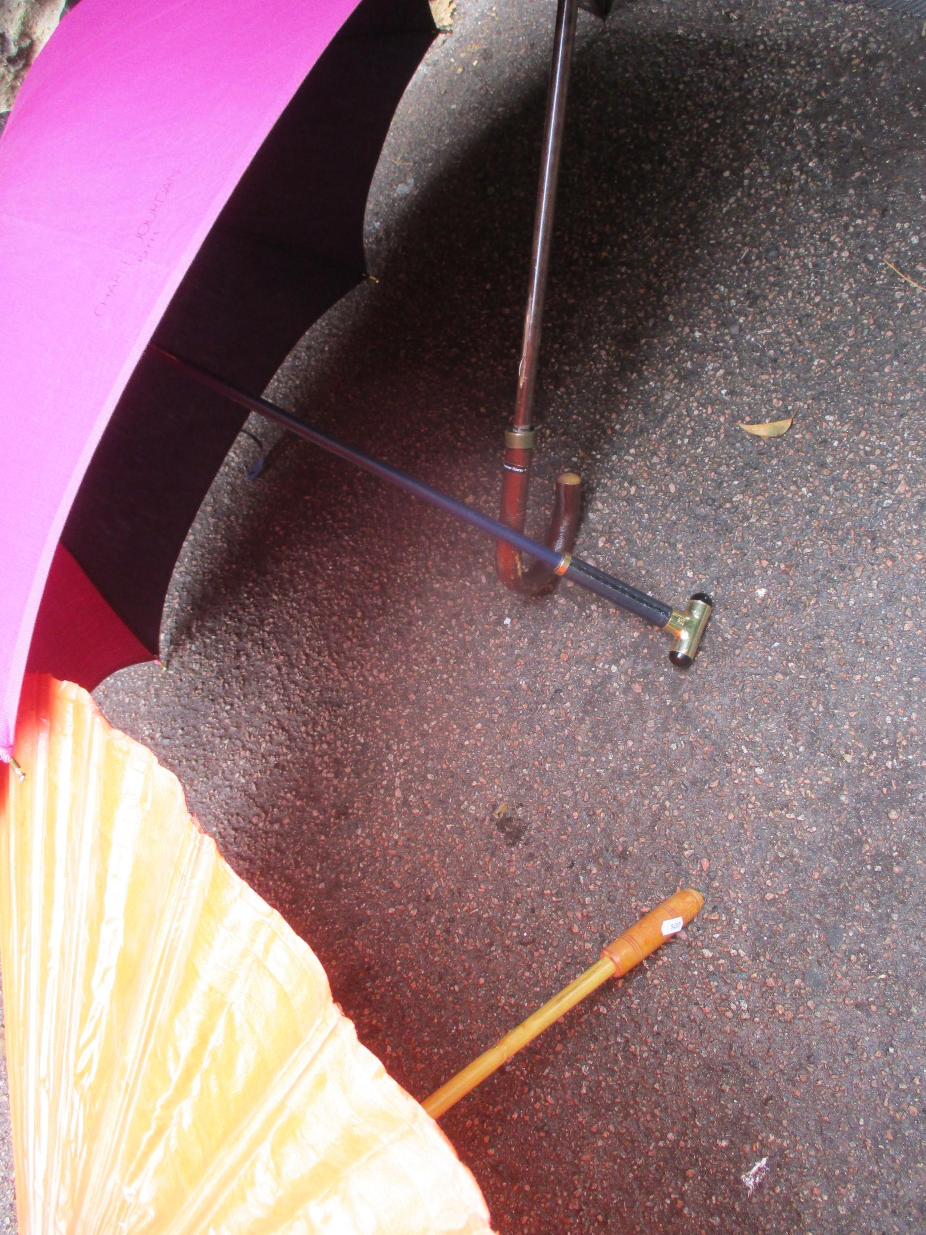 A Giorgio Armani branded umbrella and another by Charles Jourdan, together with a burnt orange - Image 2 of 5