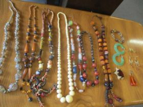 Vintage bead necklaces to include Murano and Czechoslovakian glass examples together with a pair