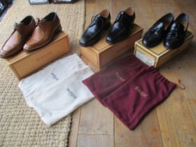 Three pairs of gents Barker leather shoes, size 6.5, to include a pair of black hi-shine Jaques,