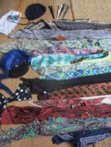 Vintage scarves to include a Jacqmar horse stirrup and belt design scarf, a blue, silk tasselled
