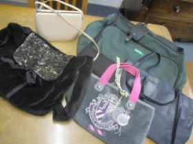 Five modern bags to include a United Colours of Benetton green canvas laptop bag with detachable