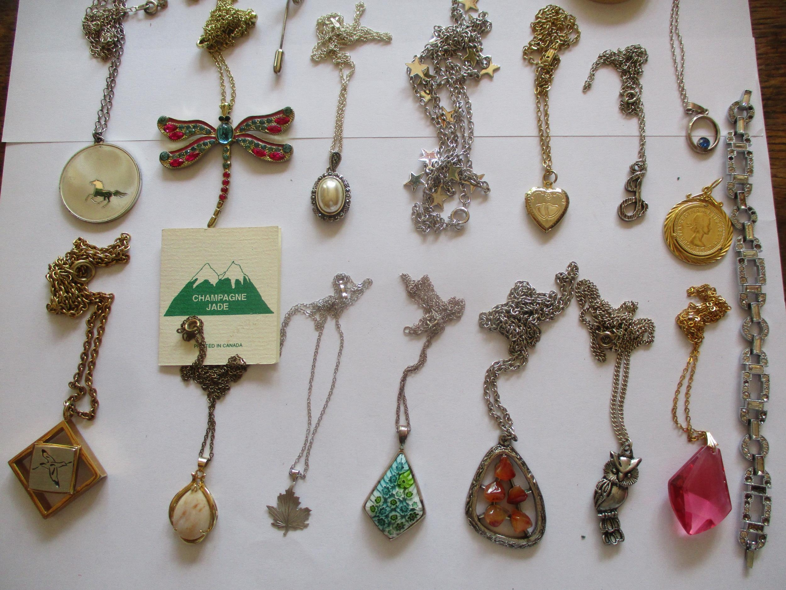 Mixed costume jewellery, mainly pendants on chains to include silver examples and a sterling - Image 2 of 8