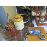 A Doulton stoneware hot water bottle, and an ashtray, a K P Works stoneware bottle, a Wells