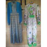 A 1970's Flower Power full length sheer cotton ladies dress having a lime green partial waistband,