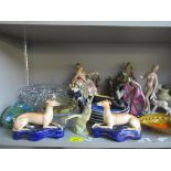 A mixed lot of Victorian and later ceramics and glassware to include a pair of Royal Dux figurines