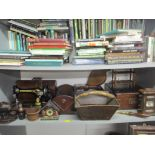 A mixed lot of mainly wooden items to include an oak cutlery box, Singer sewing machine, serial