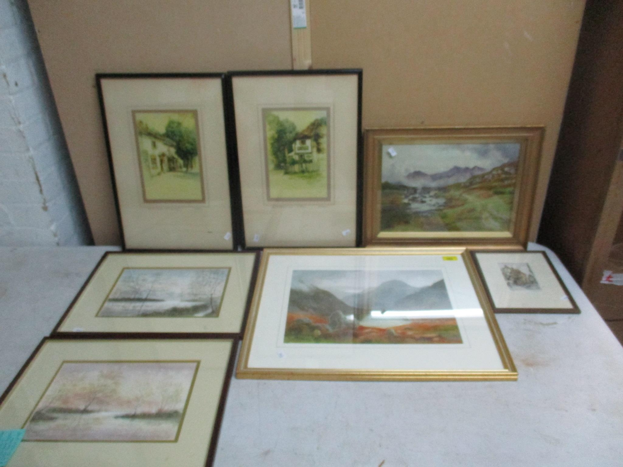 Group of watercolours and other pictures to include two watercolours by Jack Ray, a watercolour by