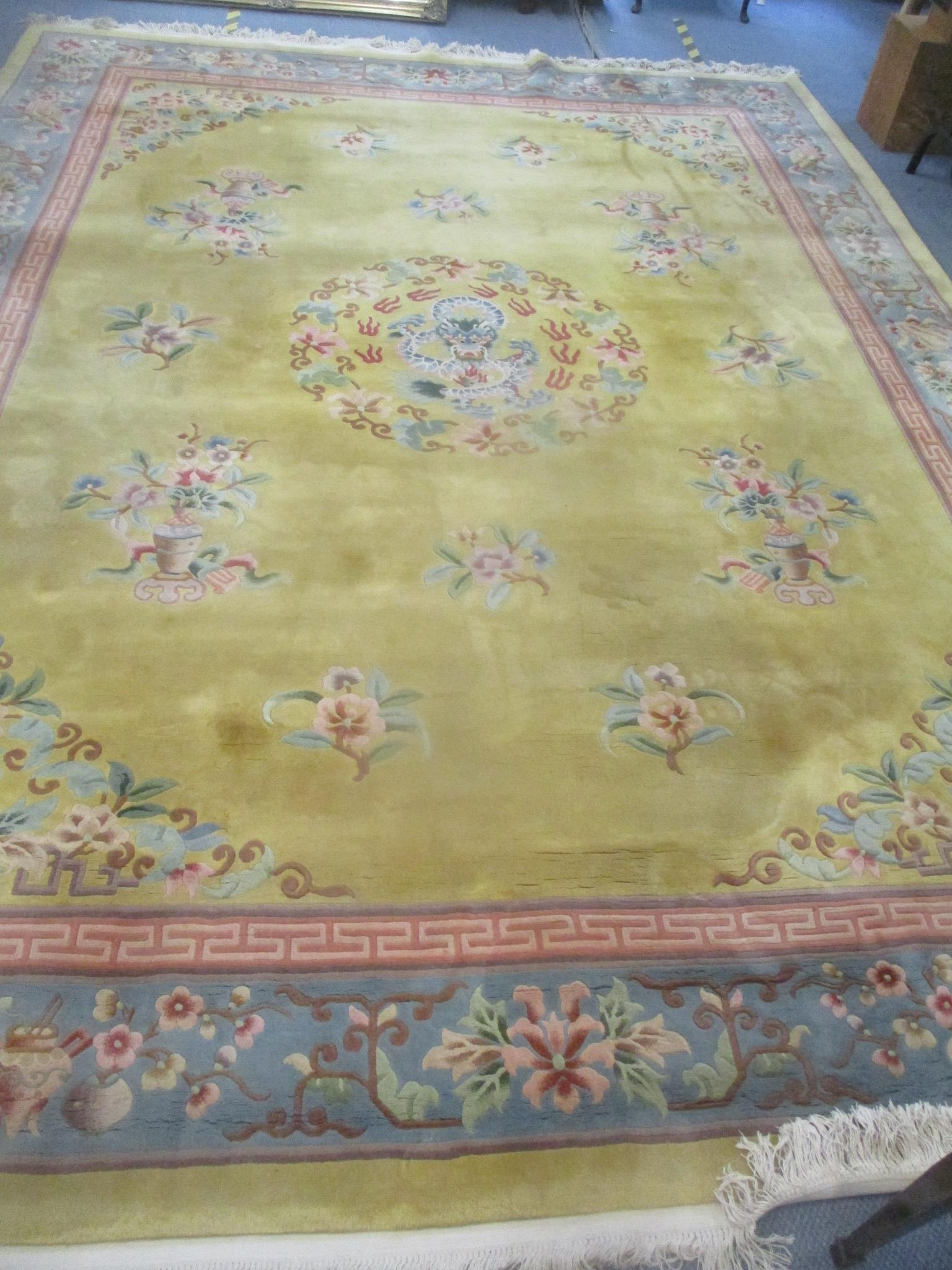 A good quality Chinese rug, bought at Harrods, traditional pattern, central dragon, floral motets - Image 3 of 5