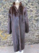 """A vintage full length brown mink coat having a shawl collar, 38/40"""" chest x 47"""" long Condition:"""