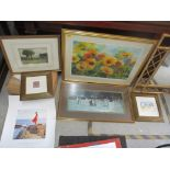 A bamboo framed wall mirror and a group of framed and glazed prints, one signed Ute S. Martens, a