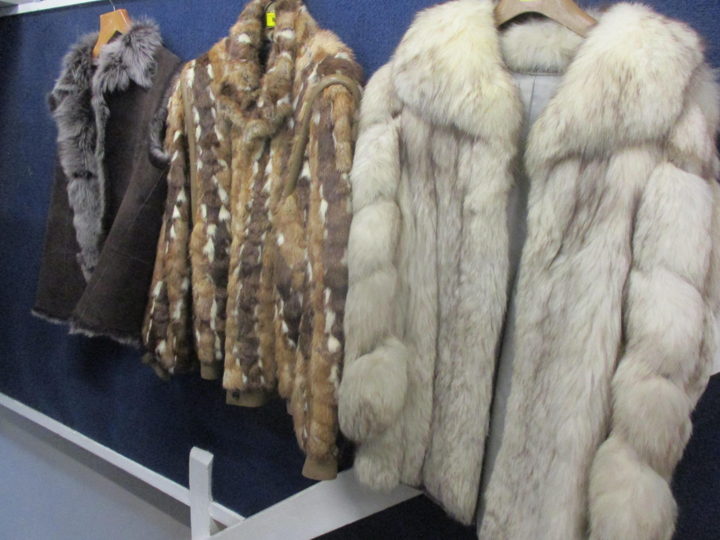 "A Saga fox jacket with shawl collar, 32""Chest x 29""Long together with a multi fur retro jacket"