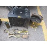 Fireside items to include an Art Nouveau coal bucket