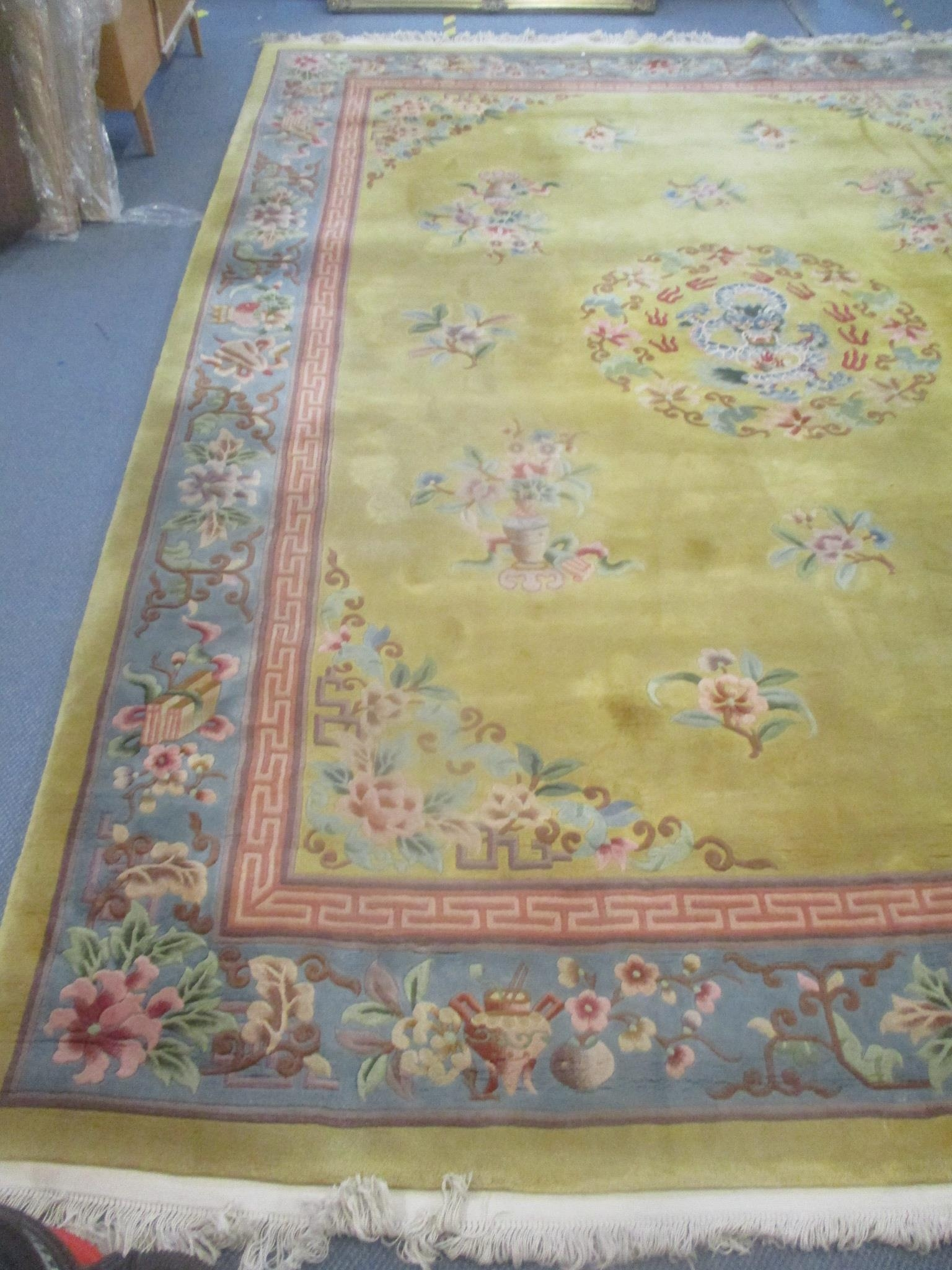 A good quality Chinese rug, bought at Harrods, traditional pattern, central dragon, floral motets - Image 2 of 5