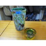 An Italian Averl tutti frutti glass vase 24cm h, and Mandruzzato style Sommerso and faceted glass