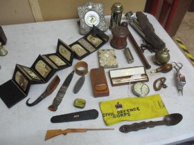 A mixed lot to include a Scottish white metal handled knife in leather and white metal mounted