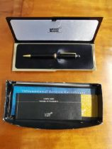 A Montblanc Meisterstruck Pix ballpoint pen with box and papers Location: Porter