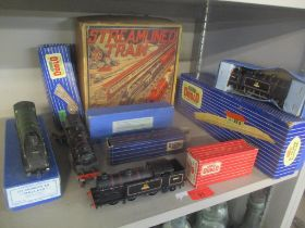 A collection of Hornby Dublo to include engines, three boxed, and platforms, and a Marx