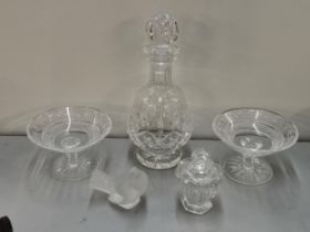 A Waterford crystal decanter together with two Waterford tazzas, a Lalique robin (with chip) and a