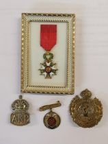 A French miniature medal of Honour together with two Royal engineers badges and an Air Raid