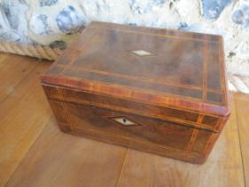 A Victorian walnut work box banded in boxwood and rosewood with inset mother of pearl A/F