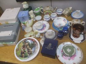 Collectable ceramics to include Beleek jugs, egg cup, Wedgwood blue Jasper stoneware, decorative