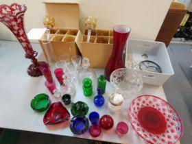 Glassware to include a large Bohemian vase with flared rim, and two sets of six hock glasses