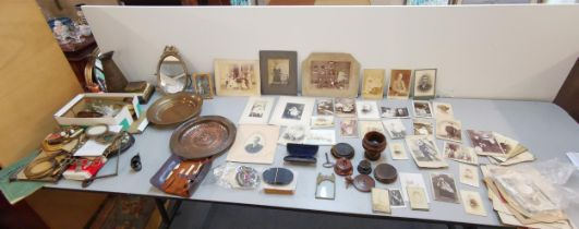 A mixed lot to include late 19th/early 20th century photographs and post cards, copper and treen