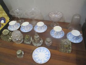 Glassware and ceramics to include five inkwells, glass tazzas, glass light shade, other items and
