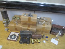 Royal Hampshire silver plated figures and collectables to include Carl Zeiss Galan binoculars,