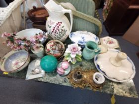 A mixed lot to include a 19th century French gilt metal ink stand with porcelain ink wells and