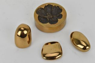 A mid 20th century French gilt bronze vide-poche by Monique Gerber, circa 1970, together with
