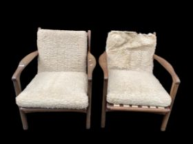 A pair of original R W Toothill retro vintage 1960's afromosia teak wood framed easy / lounge