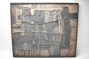 Cecily Sash, South African Artist (1924-2019), abstract, mixed media on hard board, signed and