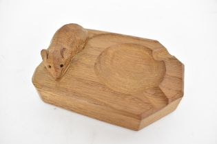 Robert Mouseman Thompson (1876-1955), an English oak ashtray with carved mouse trademark