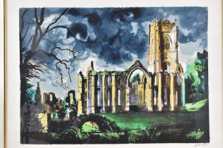 John Piper (1903-1992) Fountain's Abbey, Yorkshire, limited edition lithograph, signed and