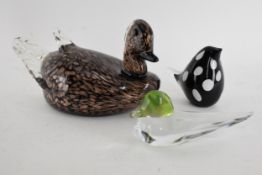 A Daum, France, glass model of a duck, together with a large Murano glass model of a mallard and one